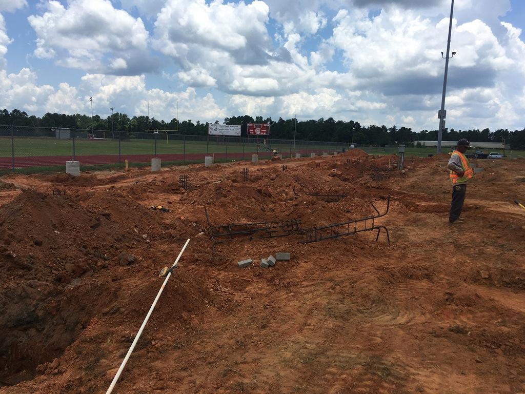 Dug up ground for foundation pillars