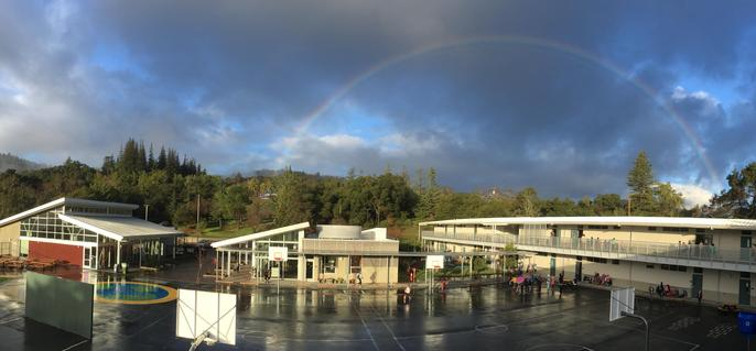 Rainbow over campus