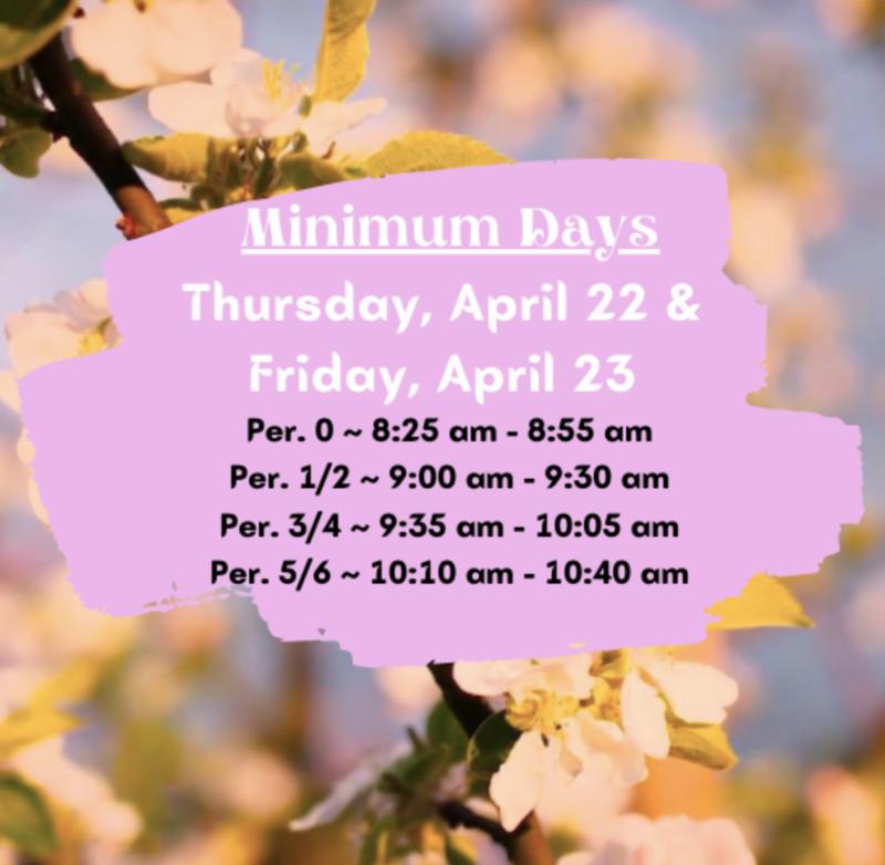 Minimum Day Schedule April 22 & 23 Featured Photo