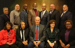 St. Landry Parish School Board Members bottom row (left to right)- Joyce Haynes; Hazel Sias; Donnie Perron (Vice President); Mary Ellen Donatto (President); Denise Rose Top Row (left to right) - Joseph Cassimere, Kyle Boss, Albert Hayes, Anthony Standberry, Myron Guillory, Randy Wagley Not Pictured: John Miller