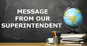 Image that read Message from the Superintendent that announces a news article