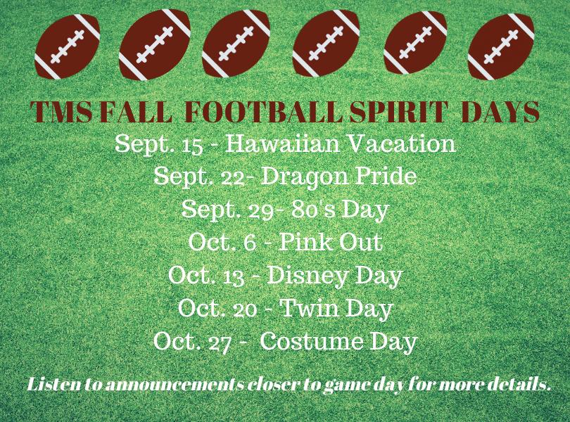TMS Fall Football Spirit Days
