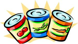 Clipart of canned 3 canned food items.