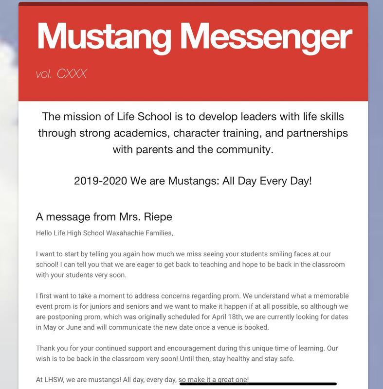 Mustang Messenger Newsletter