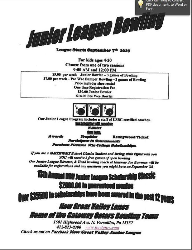 Junior Bowling League - starts 9/07/19