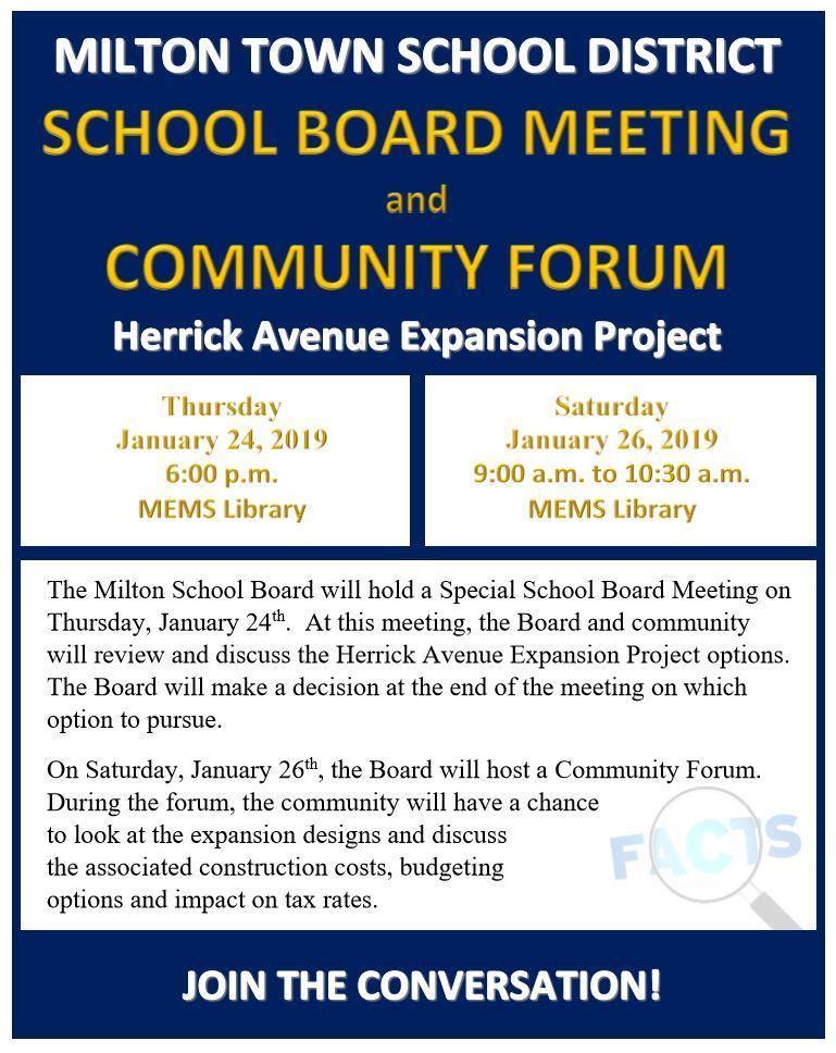 Photo of School Board Meeting and Community Forum Information