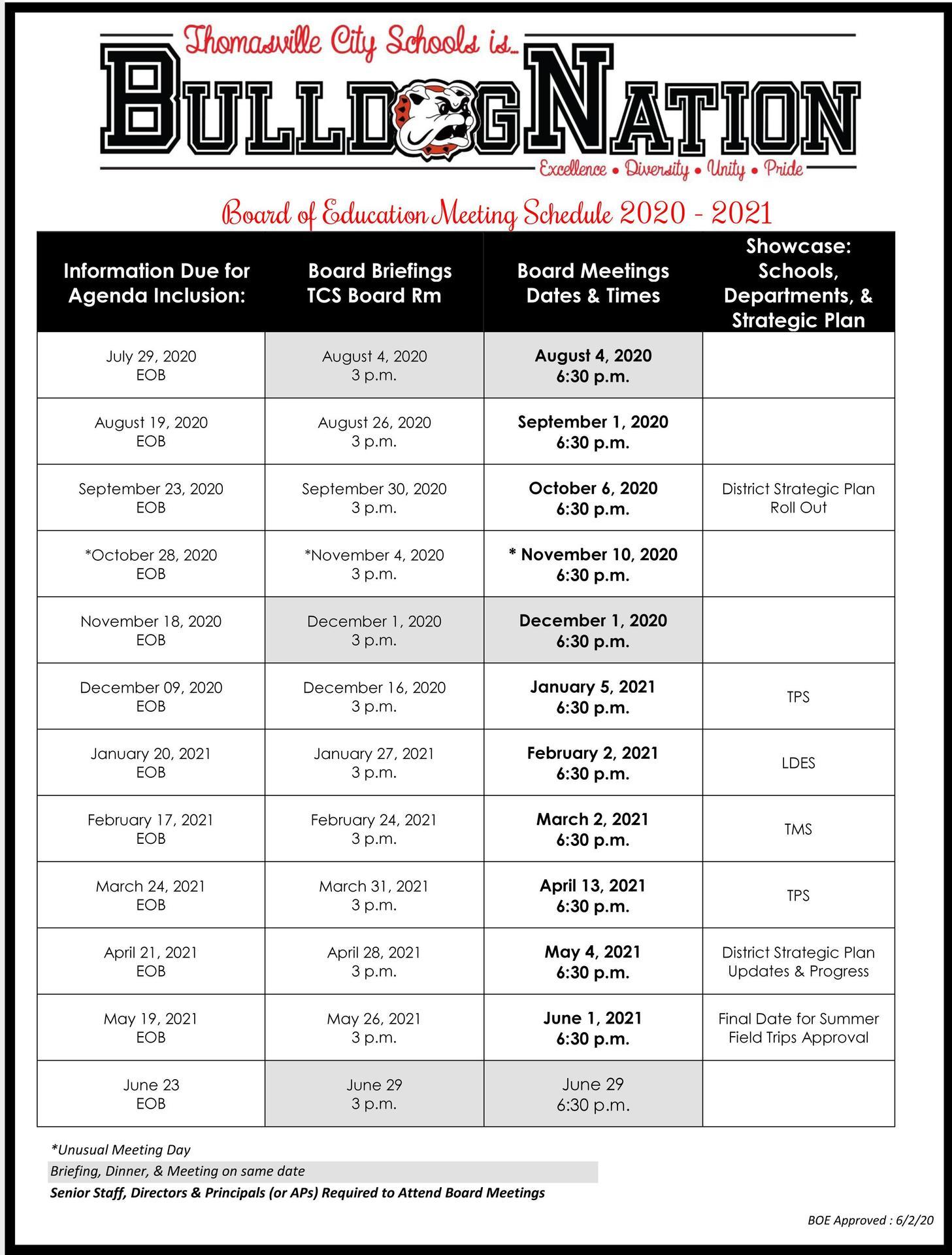 2020-2021 BOE Meeting Schedule