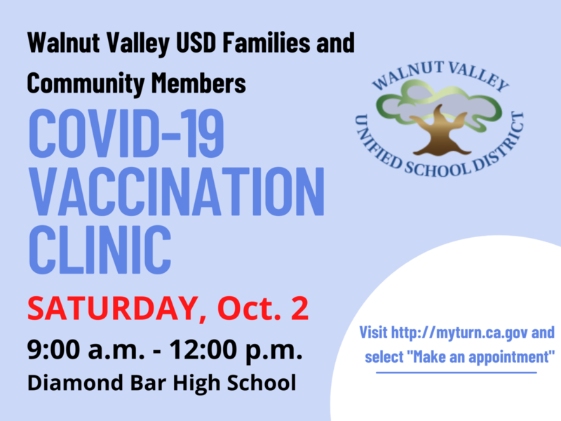 10/02/21 Vaccination Clinic for WVUSD Families and Community Members - Ages 12 and older Featured Photo
