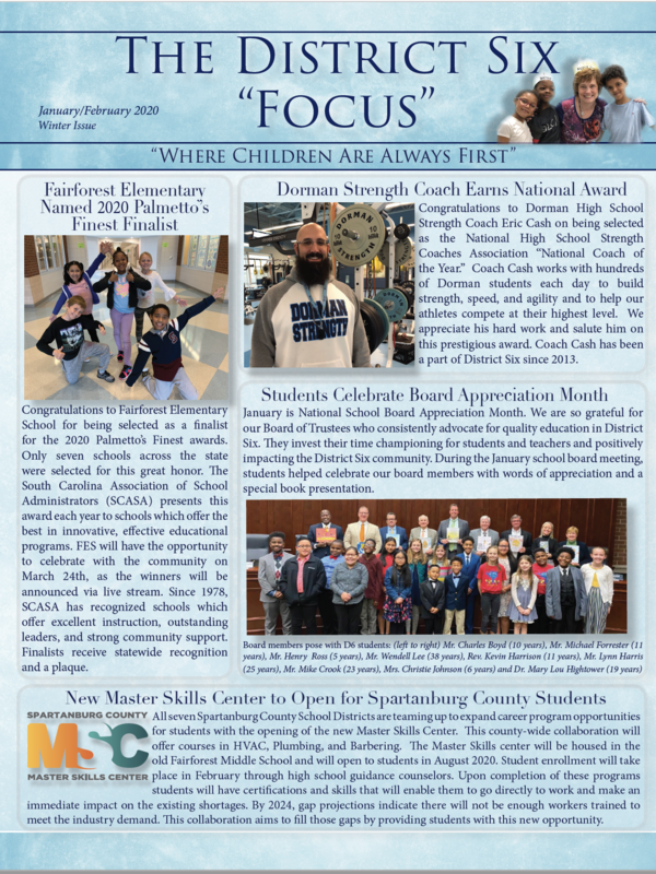 The front cover of the newsletter