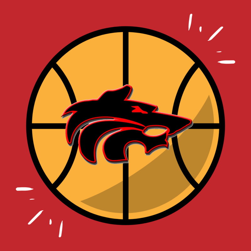 basketball icon with wolf logo in center