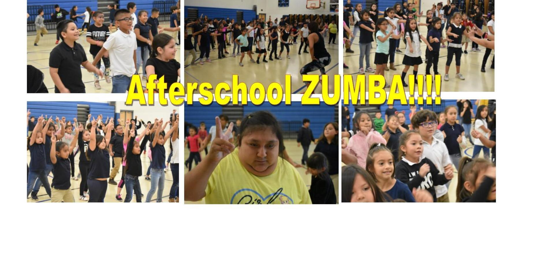 Afterschool Zumba!  Students are dancing and working out with an instructor!  All are smiling and having so much fun!