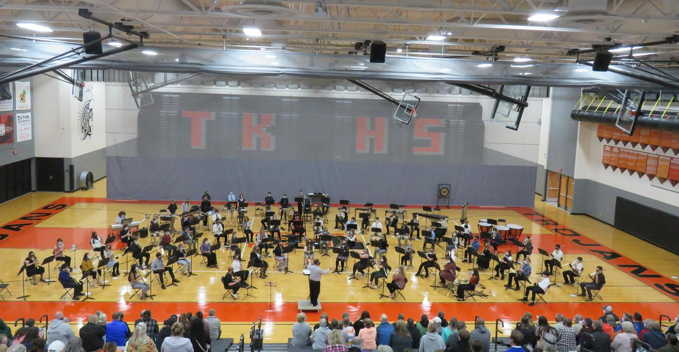 TKHS  band concerts were moved to the gymnasium where the entire band could perform together.