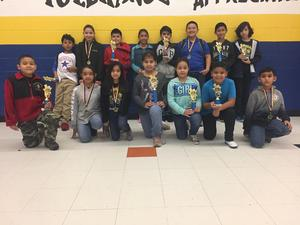 Students with Science Fair trophies