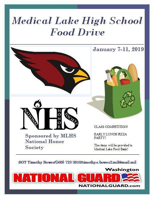 Medical Lake High School Food Drive Sponsored by National Honor Society Thumbnail Image