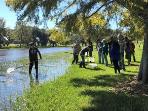 victoria west high school students on a field trip at coleto creek park