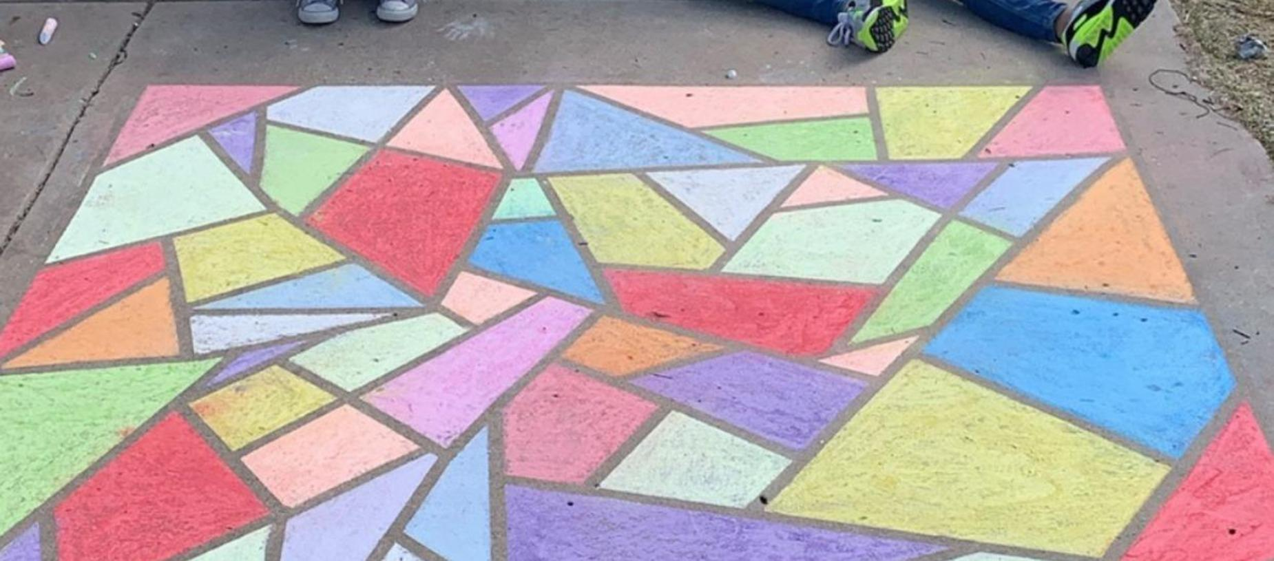 Student Sidewalk Chalk Art During Remote Learning