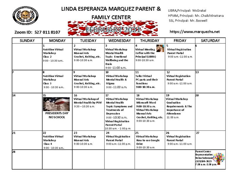 Family Center Calendar / Calendario de Padres y Familias Thumbnail Image