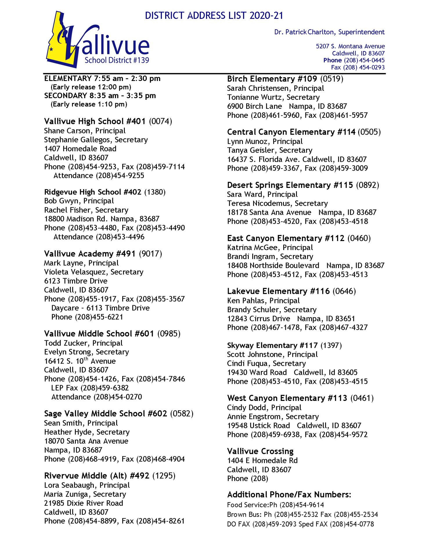 District Address List