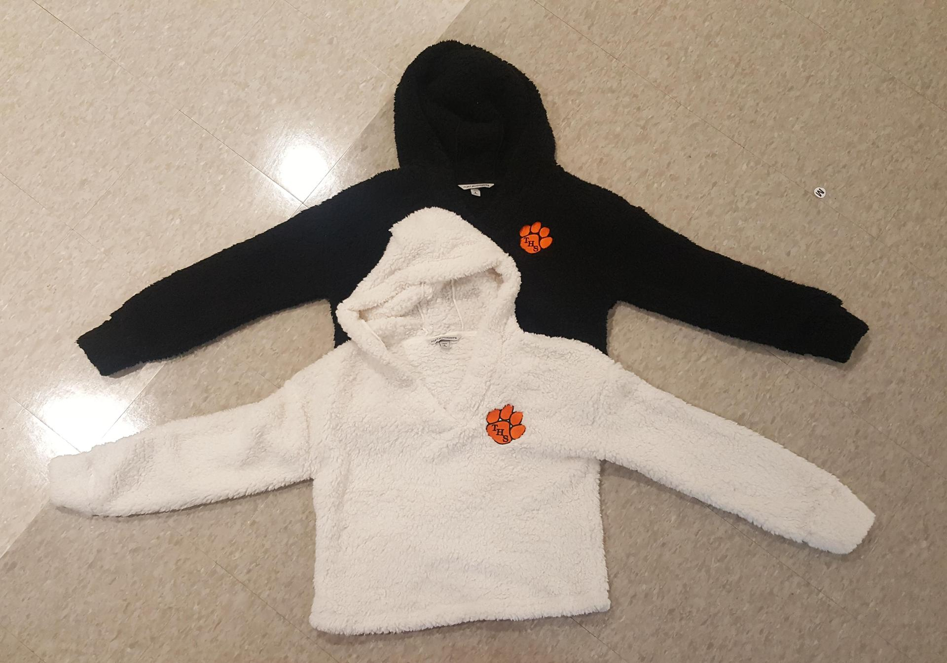 Super soft cropped lightweight fuzzy hoodie with embroidery Sizes xs-xl Colors cream and black