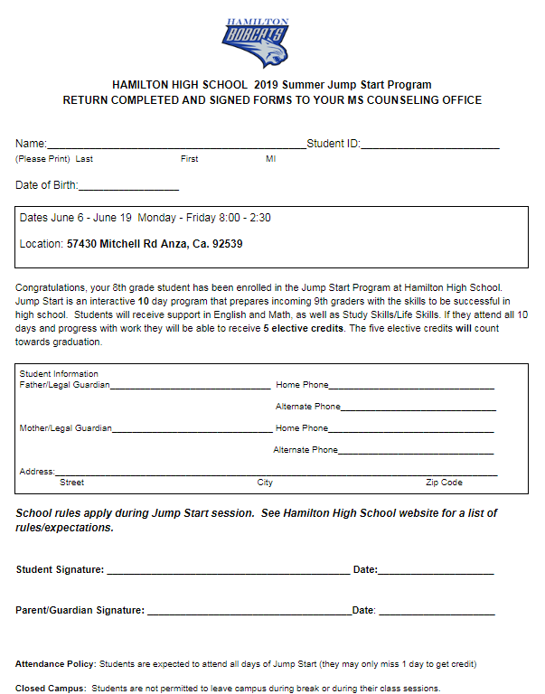 Jump Start Application for Hamilton HS.
