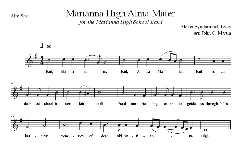 Sheet Music for Alma Mater for the Alto Sax