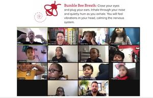 Zoom class practicing bumble bee breath exercise