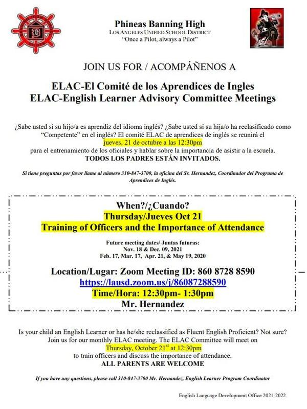 ELAC- English Learner Advisory Committee Meetings, Thursday, October 21 at 12:30pm Featured Photo