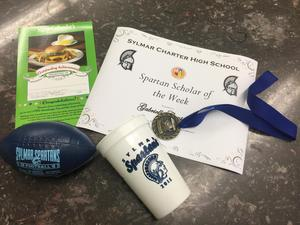 Spartan Scholar of the Week Award - Mini Football and Certificate.JPG