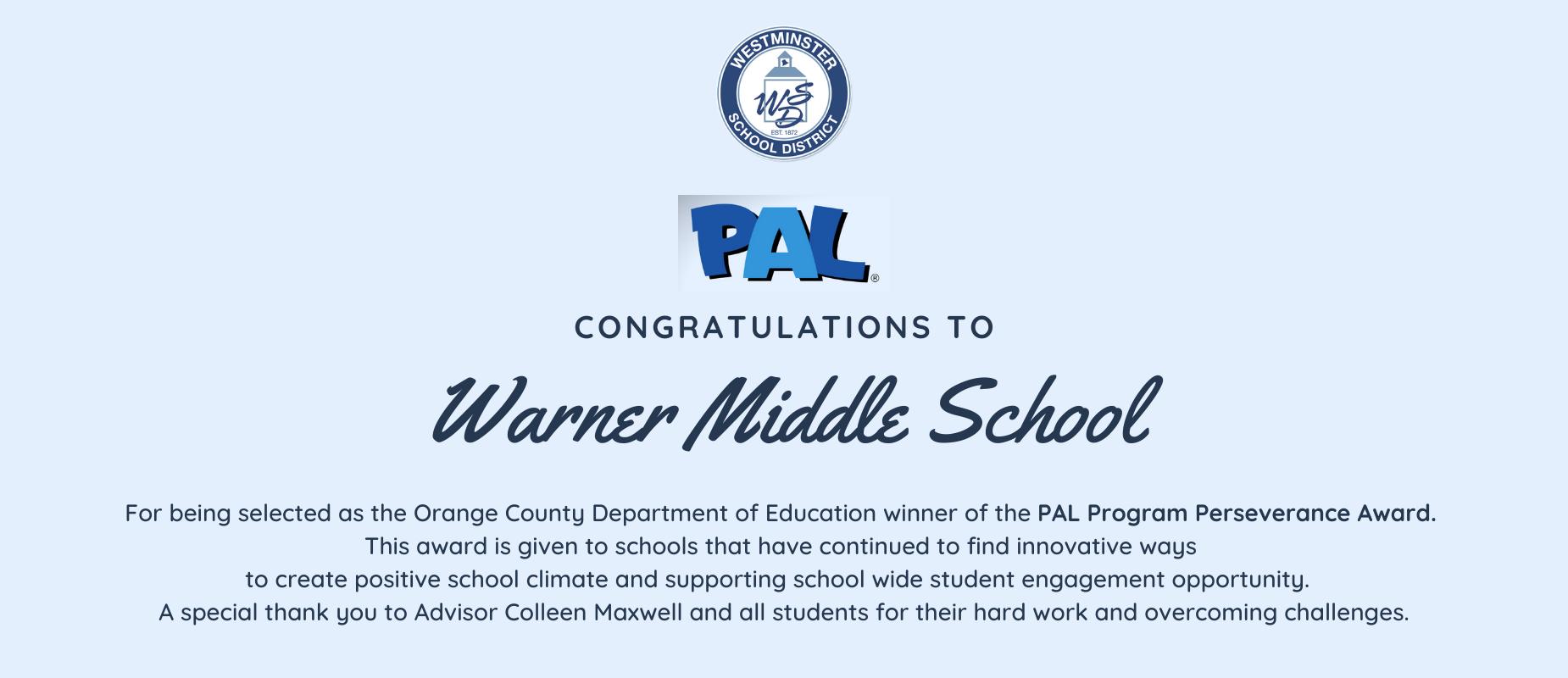 Warner wins PAL Program Perseverance Award
