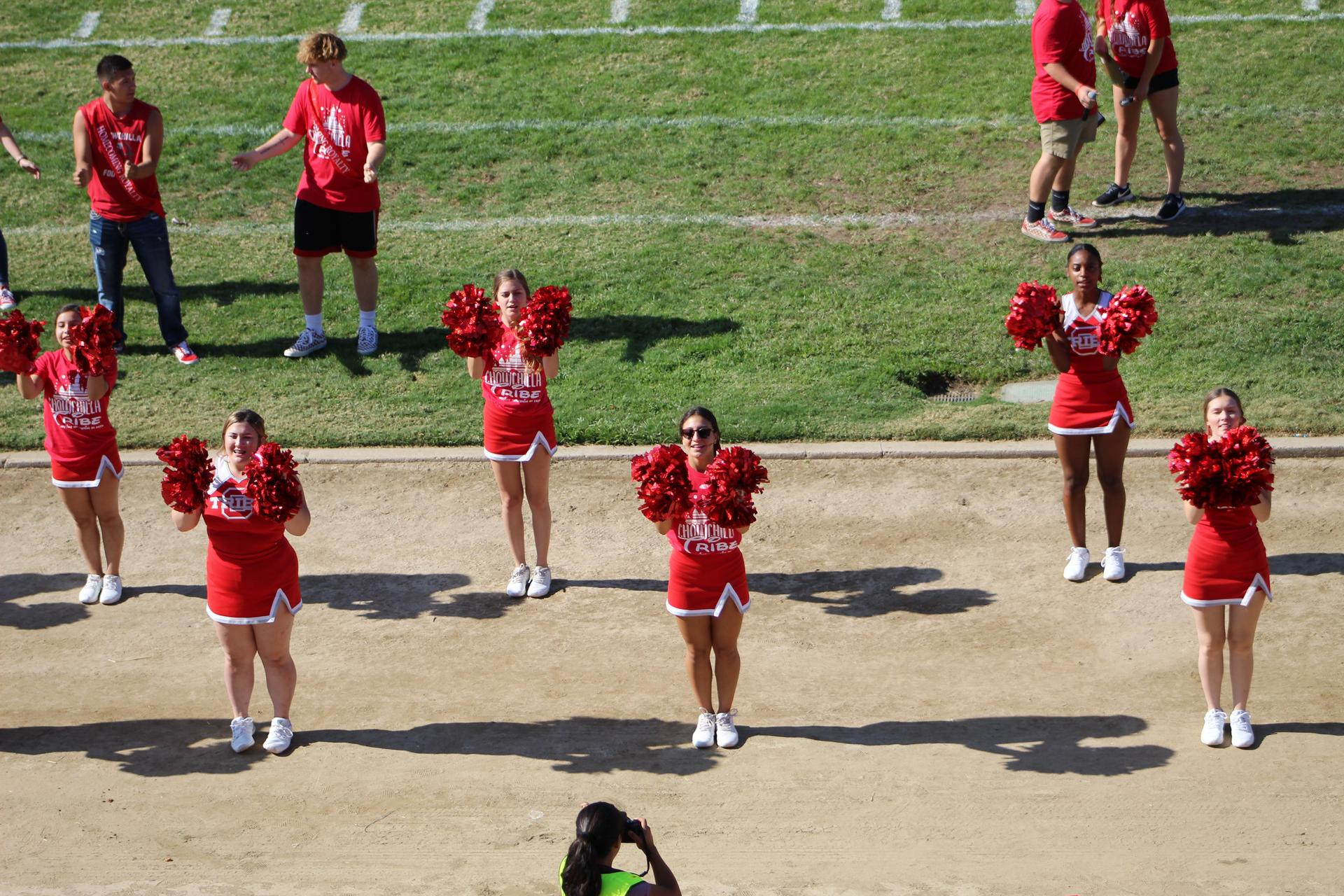 Cheer preforming at the rally
