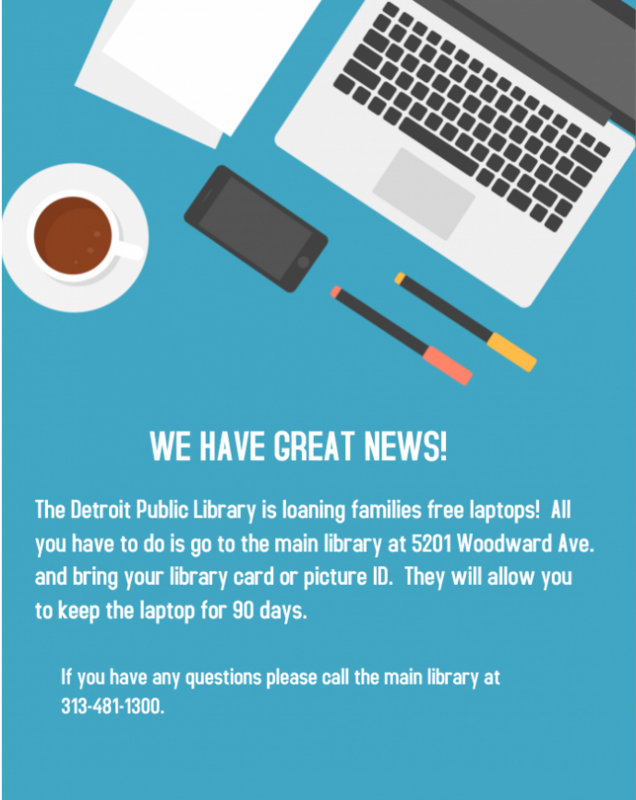 Laptop flyer from the Detroit Public Library