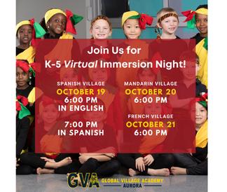 Immersion Night schedule