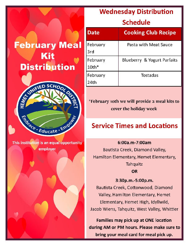 February Meal Kits Distribution Schedule
