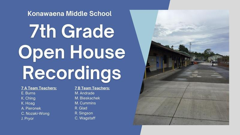 Blue background with partial picture of KMS school campus indicating the 7th grade open house recordings with  a list of teacher names for each team