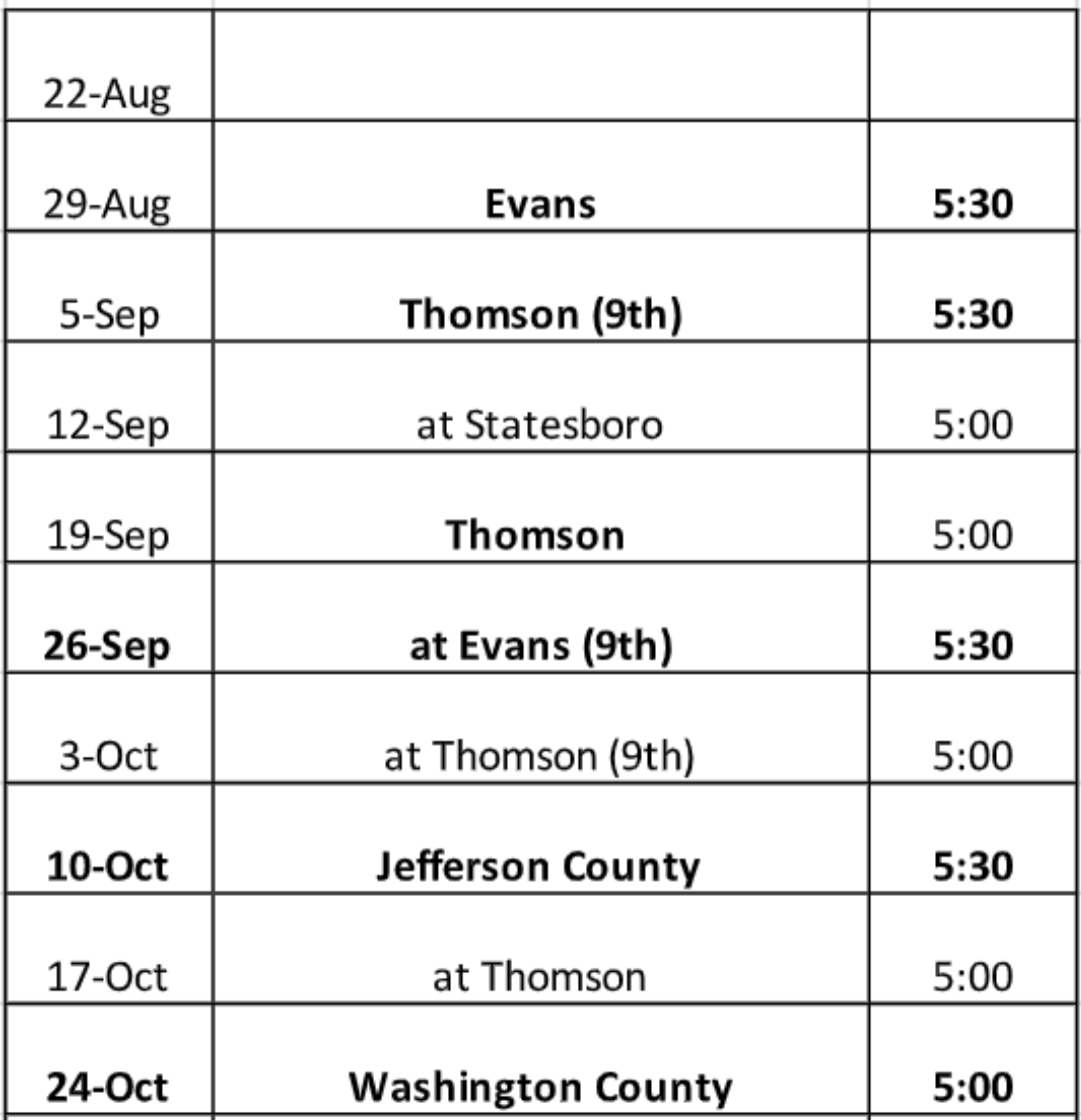2019 JV and 9th grade football schedule