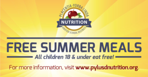 Free summer meals for all children 18 and under.