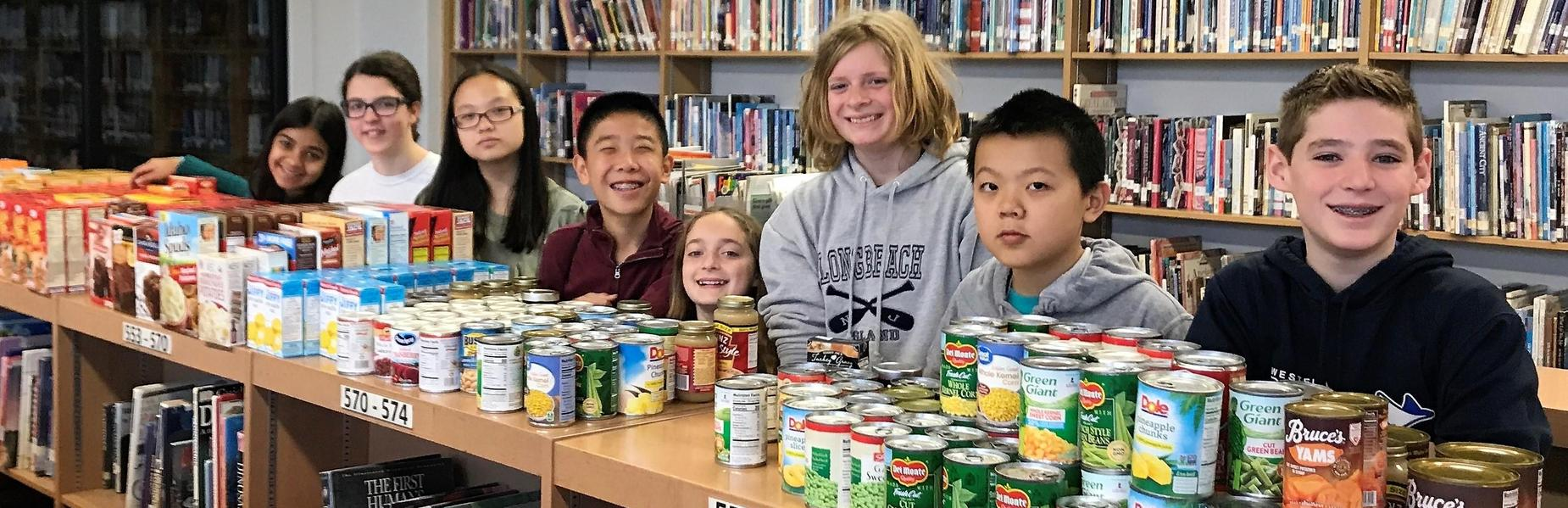 Members of EIS Student Government Association collected nearly 300 items during SGA's annual Thanksgiving Food Drive for Community FoodBank of New Jersey.