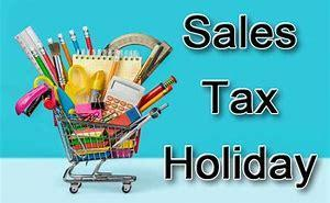 picture of schools supplies with text that says sales tax holiday