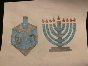 Ceneya's menorah and dreidel drawing