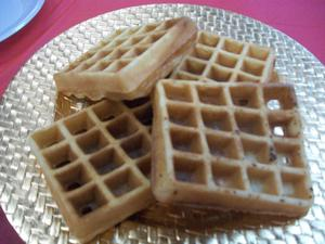 Waffles served at breakfast.