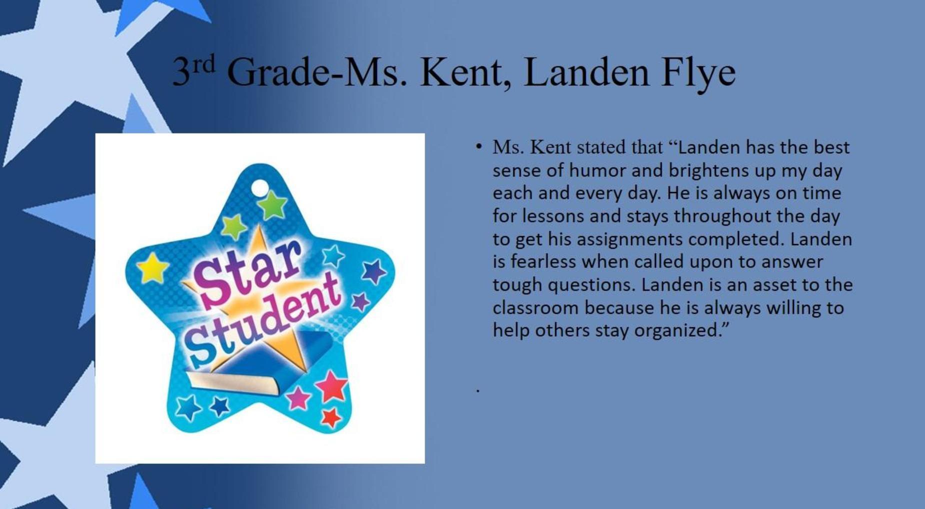 Landen Flye, 3rd Grade