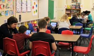 Students at Franklin School enjoys coding activities during Computer Science Education Week