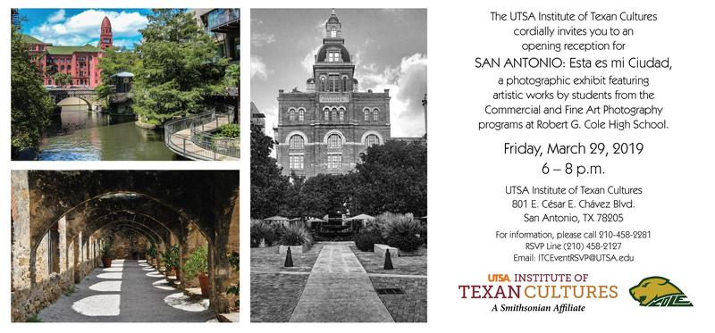 invite to institute of texas cultures, photography event.