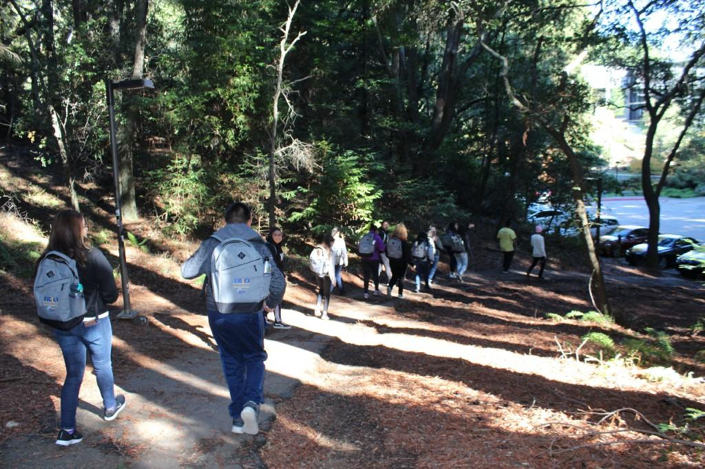 students with backpacks hiking down a trail with trees and a lake in the background