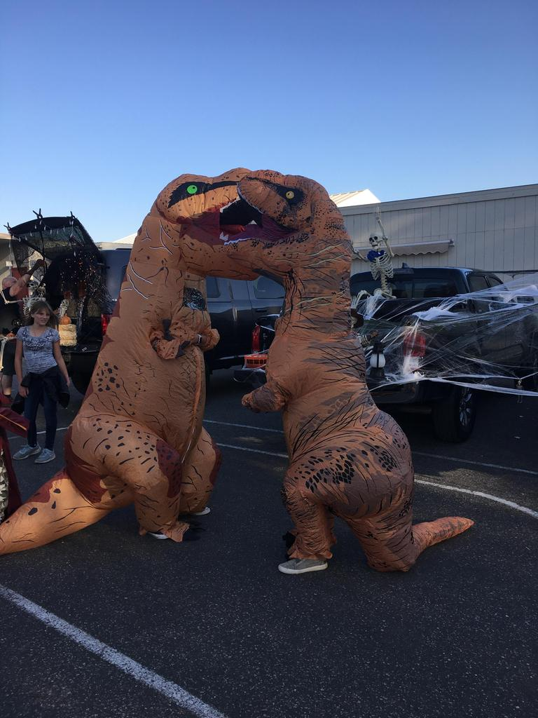 two inflatable dinosaurs