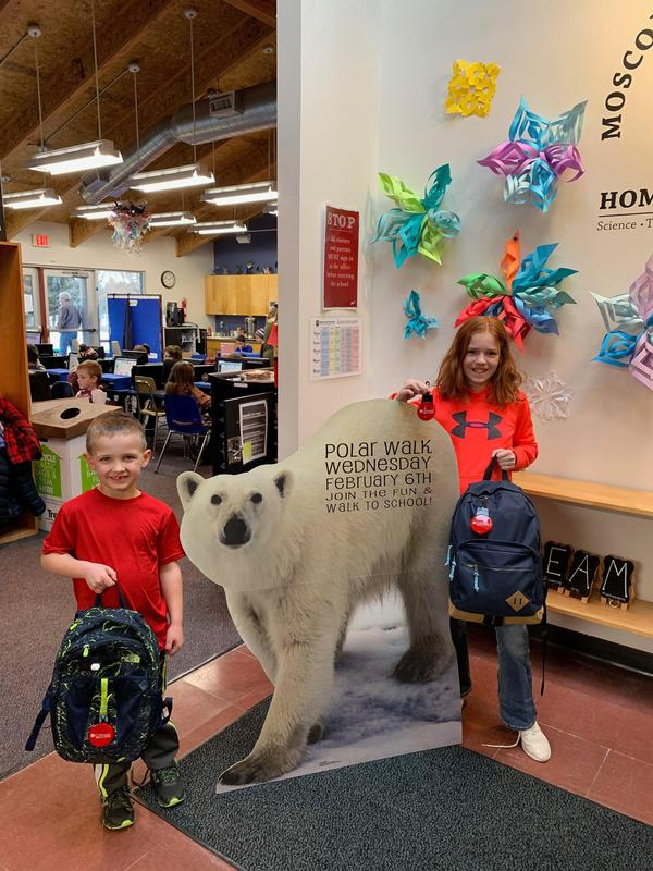 Students with our Polar Walk Reminder