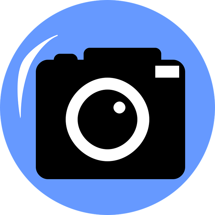 Camera with blue background