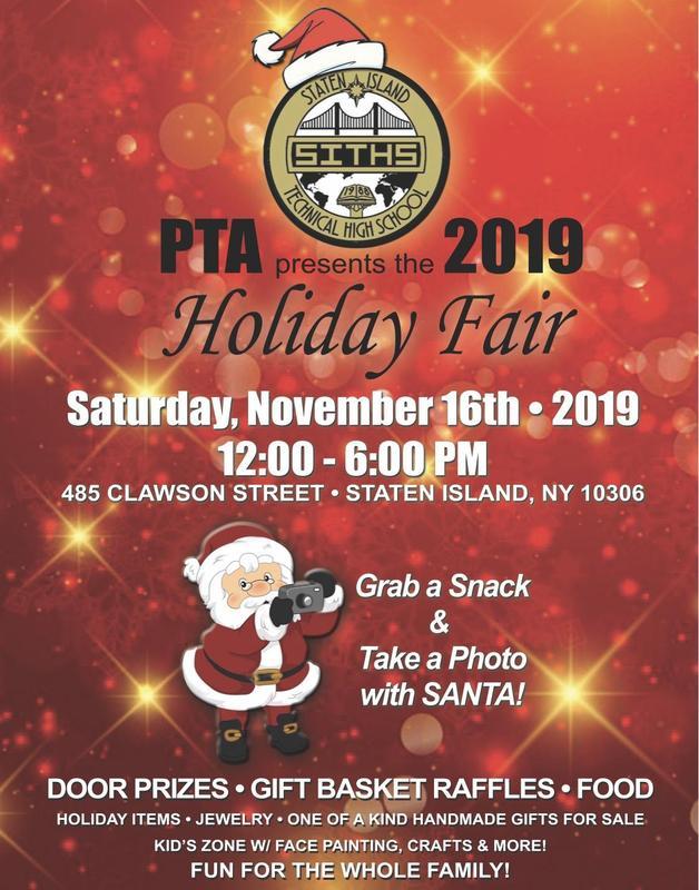 2019 Staten Island Tech PTA Holiday Fair Flyer
