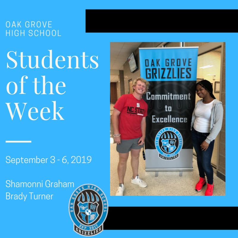 Students of the Week September 3-6: Shamonni Graham and Brady Turner