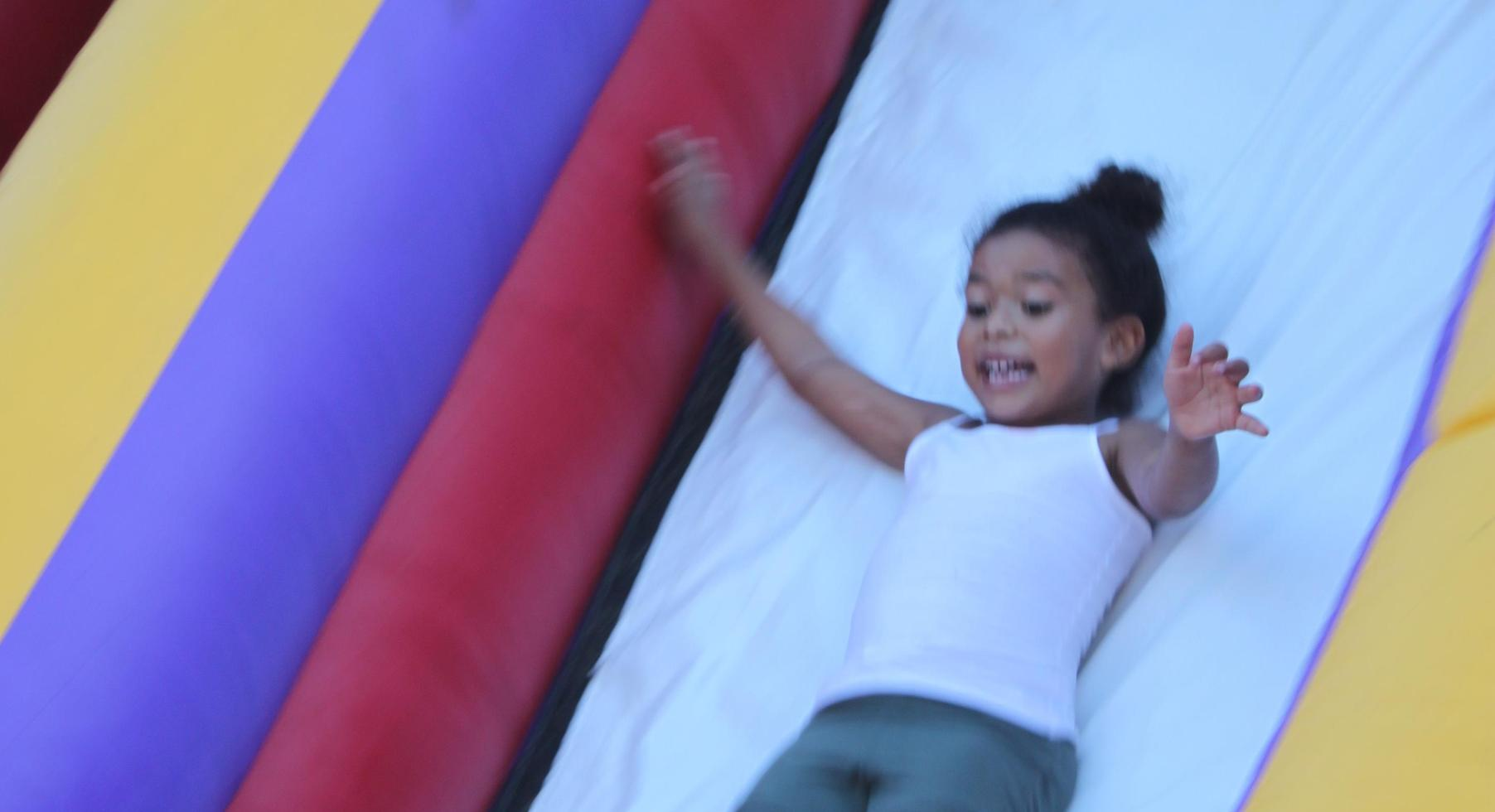 FunFestival for Education: Coming down the slide.